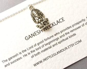 Ganesh Necklace, Silver Ganesh Necklace, Ganesha Necklace, Spiritual Jewelry, Birthday Gift
