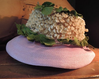 Vintage 60's  Straw Ivory Straw Hat with Lilies of the Valley / Wedding Straw Hat / Lavender