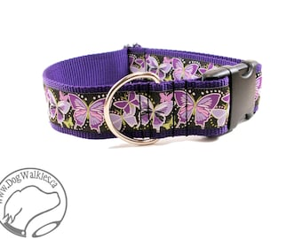 """Deep Purple Butterflies Wide Dog Collar - 1.5"""" (38mm) wide - Quick Release or Martingale Dog Collars - Choice of collar style and size"""