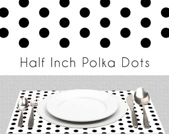 "Polka Dots Black And White Paper Placemats | BW Placemats Book of 25 Sheets Card Stock | Size Is 17"" x 11"" inches Tear-Off Durable Paper Pad"