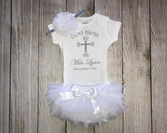 Personalized Baby Girl Baptism Outfit in White and Silver - Baptism Onesie -  Baby Dedication Outfit - Christening Outfit - God Bless Outfit