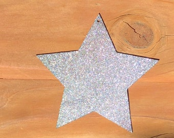 "Fat Star - 4"" SILVER Glitter Metal STAR! Make your own Sign, Gift, Art!"