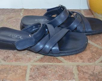 SALE! Sandals/mules 90's adjustable strap Navy almost black 7US