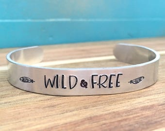 Custom Cuff Bracelet, Feather Cuff, Wild and Free Hand Stamped Bracelet, Boho Bracelet, Feather Jewelry, Bohemian Gift For Her, Customizable