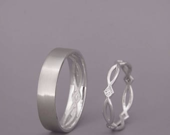 14K White Gold Eternity Wedding Rings set with Diamonds | Handmade 14k white gold celtic wedding Rings | His and Hers Wedding Bands Set