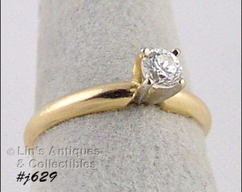 Diamond Solitaire Engagement Ring,14k Yellow Gold 1/4 ct Round Diamond Solitaire Ring,Engagement Ring Size 6  (Inventory #J629