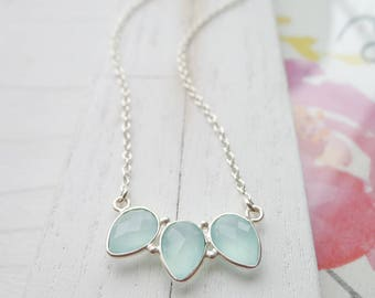 Aqua Chalcedony Trio Necklace