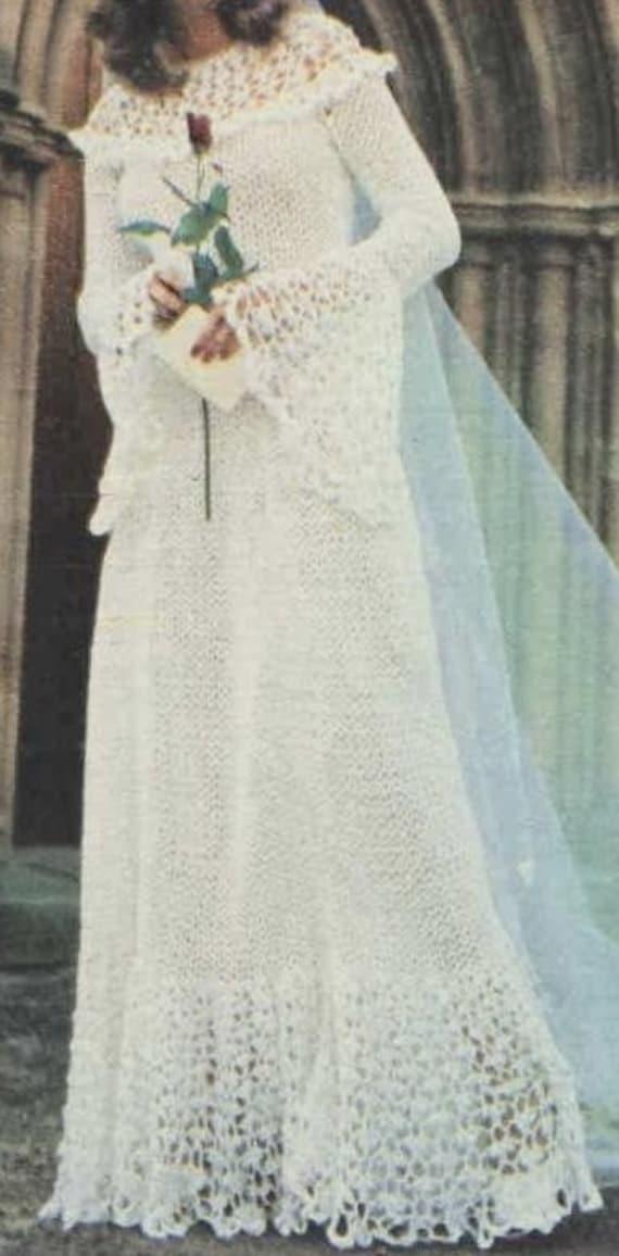 Vintage Crochet Pattern Wedding Dress Bridal Gown Pattern