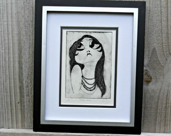 Theda Bara - drypoint etch