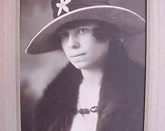Lovely Edwardian Sepia Photograph of Young Woman in Beautiful Hat-Brunswick, Maine