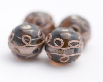 Vintage Lampwork Glass Beads Topaz Coppery Round Beads 18mm (4)