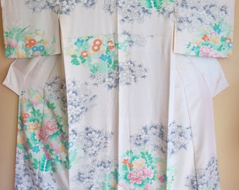 FURISODE Vintage Japanese Silk Kimono Lovely Embroidered Peony Blossoms Flowers Soft Gray Silk Japanese Furisode Wearable Art Gift Furisode