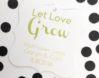 Let Love Grow Tags, Let Love Grow Wedding Favor Tags, Succulent Hang Tags  (FS-021-2)