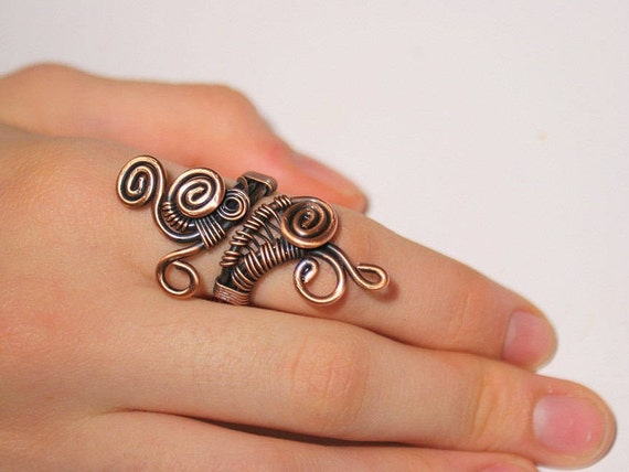 Draht gewickelt Ring Kupfer-Ring Draht umwickelt Schmuck