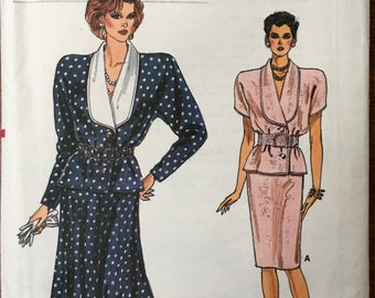 80s Vogue, VOGUE 9772~'86~Misses Top & Straight Or Flared Skirt Pattern~Sz.8-10-12~New~Ff