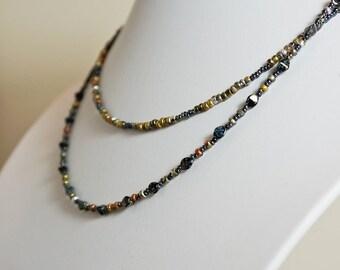Multi Strand Minimalist Necklace Beaded Jewellery Double Strand Necklace Light Weight Necklace Modern Necklace Bohemian Necklace Boho