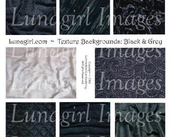 Vintage Fabric Backgrounds, digital collage sheet, BLACK GREY textures patterns, altered art cards, Antique Gothic images, Ephemera DOWNLOAD