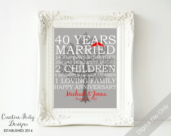 Unique Ruby Wedding Anniversary Gifts: 40th Wedding Anniversary Gift 40th Anniversary Print