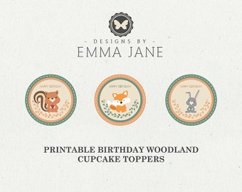Printable Woodland Birthday Cupcake Toppers, Party Printables, Instant Download, Woodland Party Decorations, 1st 2nd 3rd 4th 5th Birthday