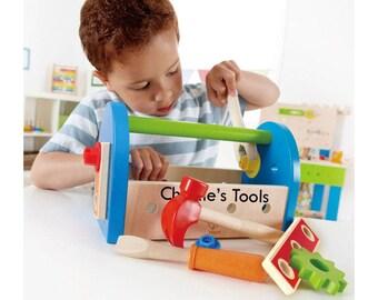 Personalised Toy Toolbox, tool box set, Children's tools, Pretend tool kit, Toddler tool set, Wooden tool kit, Children's first tool set
