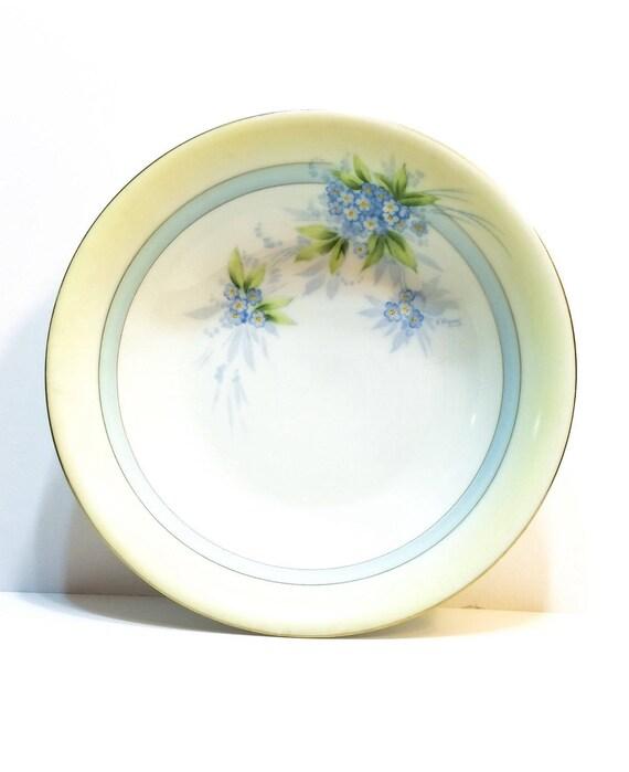 Sandia Hand Painted China Bowl, P T Bavarian 9 Inch Serving Bowl, Yellow & Blue, Floral Motif, Farmhouse Decor, Signed Antique Porcelain