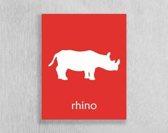 Safari Nursery Art, Rhino, Childrens Art Print, Kids Art Print