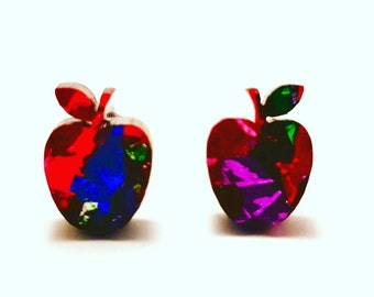 Apple studs - Rainbow glitter Apples - Fruit studs - laser cut acrylic studs - apple earrings - glitter stud earrings - Teachers gift