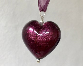 Diana Ingram necklace with dark amethyst (purple) Murano glass extra large heart (30mm) pendant and complimentary organza ribbon on silver.