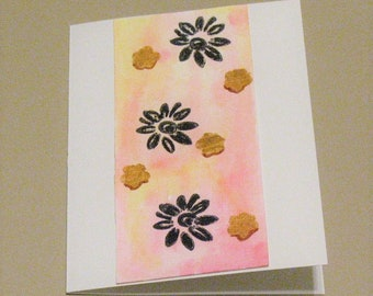 Hand Painted Card Card with Daisies