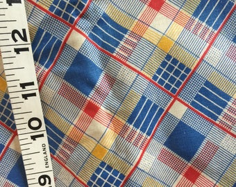 """Vintage 3 yards; Yardage 40's Plaid Fabric;  3 yards by 36"""" Wide; Blue and Red; Rare Yardage"""