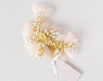 Pearl Crystal Bridal Headpiece, Blush Pink Silk Wedding Headpiece, Crystal Bridal Wedding Hair Comb, Ivory Floral Headpiece - Style 224