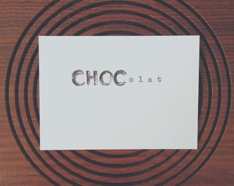 Choc Chocolat Chocolate. Brush pen and ink mixed media typewriter art by dabblelicious