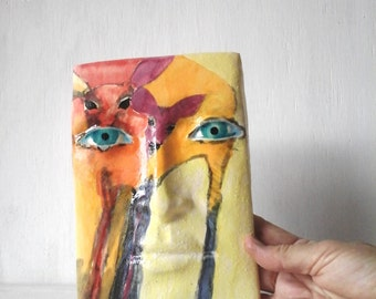 Wall sculpture, small ceramic face, pottery art yellow painting for girlfriend gift, gallery wall by Louise Fulton Studio