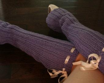 Legwarmers Knitted with Ribbons, Legwarmers Women, Legwarmers Dance, Legwarmers Teen/Adult