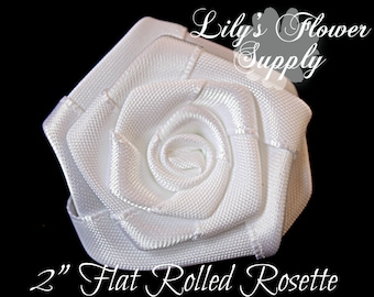 White Flat Rolled Rosettes - Wholesale - 2 inch - Satin Flower - Satin Rosette -Fabric Flower - Rolled Rosettes