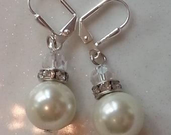 Crystal Pearl Dangle Earrings