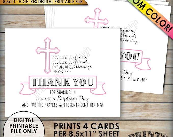 "Baptism Thank You Card, Girl Baptism Custom Thank You, Christening Thank You, Custom Color, Four 4.25x5.5"" Cards per 8.5x11"" PRINTABLE File"