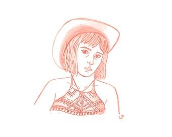 Custom Illustration (portrait) | Monotone Gouache