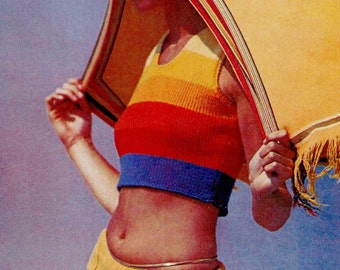 Rainbow Crop Top Vintage Knitting Pattern Download