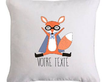 """Cushion """"super Fox"""" personalized with text of your choice"""
