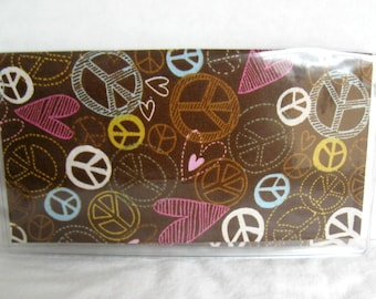 Checkbook Cover Peace Signs  - Heart Cash Holder - Works with Duplicate Checks - Peace and Love Checkbook Holder - Brown