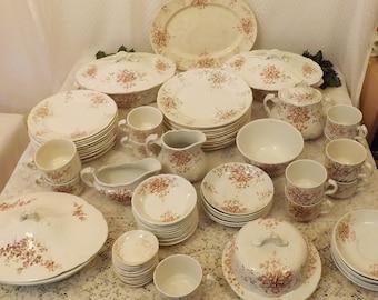 Antique 88 Piece English Ironstone China Dinnerware Set for 10