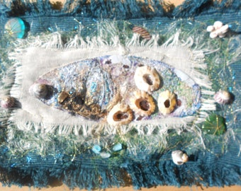Treasures from the Sea - Textile Mixed Media Art Piece