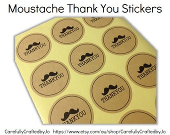 Set of 60, 120, 180 Stickers - Thank You Moustache Stickers - Kraft Sticker/ Envelope Seals