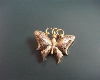 Vintage Damascene Butterfly Brooch Pin