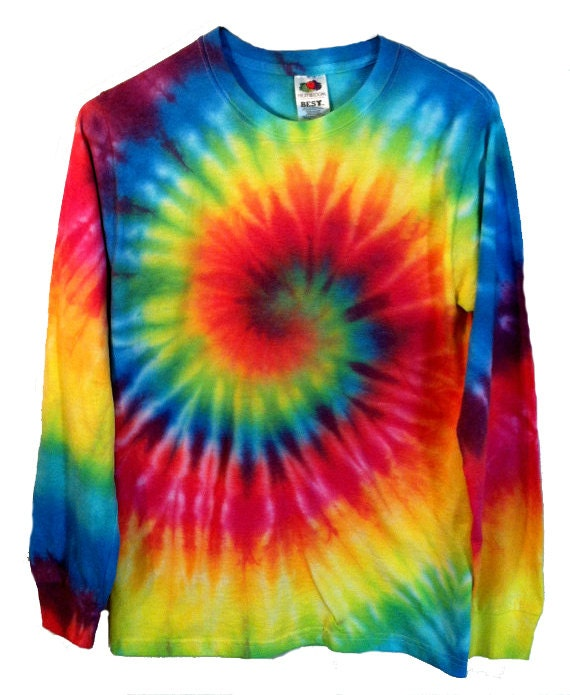 tie dye shirt long sleeve rainbow spiral 100 cotton. Black Bedroom Furniture Sets. Home Design Ideas