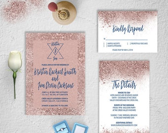 Wedding Invitation Suite, Rose Gold