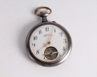Antique Vintage Old French Made Bonheur Open Face Pocket Watch.