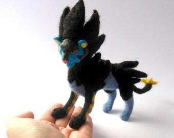 Pokemon Luxray OOAK needle felted posable art doll