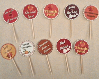CUPCAKE TOPPERS 1 dozen (23sweets)/custom designs/baked goods/topper designs/unique/birthday/graphic design/weddings/party/parties